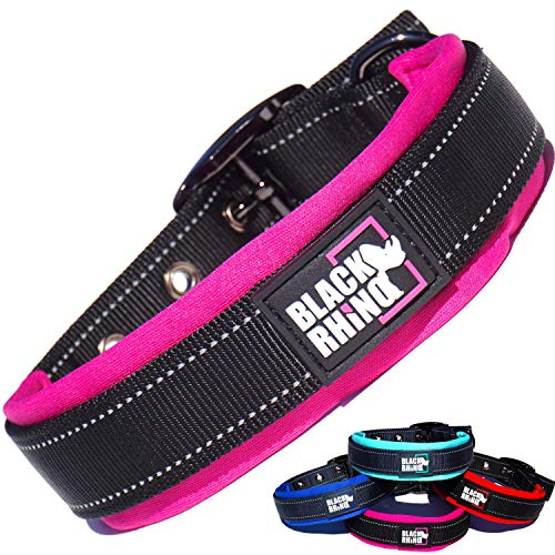 Black Rhino - The Comfort Collar Ultra Soft Neoprene Padded Dog Collar for All Breeds - Heavy Duty Adjustable Reflective Weatherproof (Large, Pink/Black)
