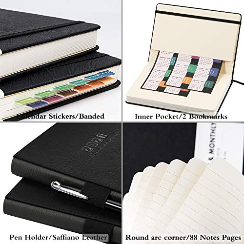 Planner 2019-2020 - Academic Weekly/Monthly Planner, Saffiano Leather with Pen Holder with Thick Paper, Back Pocket with 88 Notes Pages | Special Box - 5.75 x 8.25