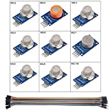 Youmile 9Pack / 1Set MQ-2 MQ-3 MQ-4 MQ-5 MQ-6 MQ-7 MQ-8 MQ-9 MQ-135 Modulo sensore di allarme rilevamento gas Rilevamento fumo di gas per Arduino Starter Kit fai-da-te con Dupont 30cm 40pin