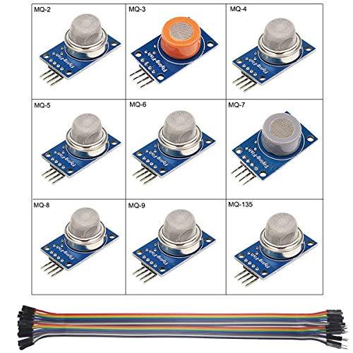 Youmile 9PACK / 1Set MQ-2 MQ-3 MQ-4 MQ-5 MQ-6 MQ-7 MQ-8 MQ-9 MQ-135 Gaswarnmelder-Sensormodul zur Erkennung von Gasrauch für Arduino Starter DIY Kit Mit Dupont 30cm 40pin