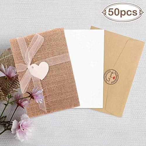 Aparty4u 50 Jute Rustikal Einladungen Karten Vintage Briefumschläge mit