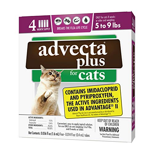 Advecta Plus Flea and Tick Squeeze on for Small Cats, 4 Month Supply