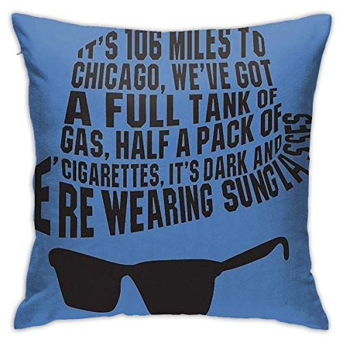 out 106 Miles To Chicago The Blues Brothers Cushion Throw Pillow Cover Decorative Pillow Case For Sofa Bedroom Fundas para Almohada 26x26Inch(65cmx65cm)