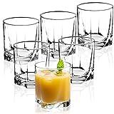 KADAX Vasos de Cristal, Juego de 6, Vasos de Agua, Copas de Zumo, Vasos para servir Agua, Zumo, Casa, transparente (365ml, corto)