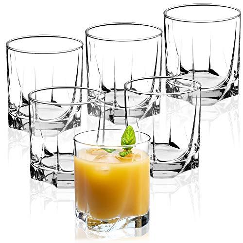 KADAX Trinkgläser aus hochwertigem Glas, 6er Set, Wassergläser, dickwandige Saftgläser, geriffelte Gläser für Wasser, Drink, Saft, Party, Cocktailgläser, Getränkegläser (niedrig, 365ml)