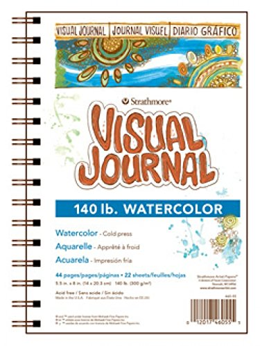 Strathmore 460-55 400 Series Visual Watercolor Journal, 140 LB Cold Press, 5.5'x8', 22 Sheets