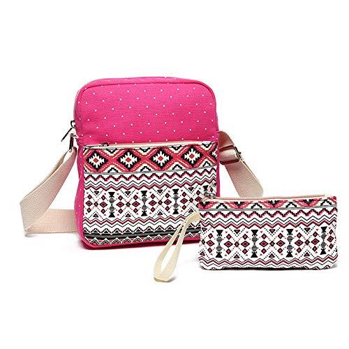 Schoudertas voor heren, messengertas, kleine rugzak voor wielrennen, zeildoek, met meerdere zakken, voor dagelijks gebruik in de schouders, geborduurd, tweedelig pak (rood)