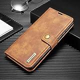 SZCINSEN per Samsung Galaxy A81/Note 10 Lite Custodia a portafoglio in vera pelle, 2 in 1, con chiusura magnetica, retro in vera pelle bovina con slot per carte di credito (colore : marrone)