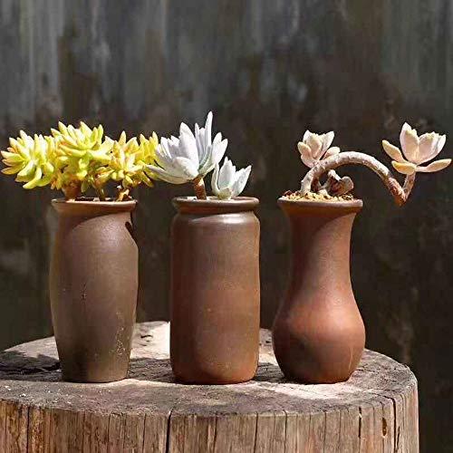 Kouintl Trois pièces en céramique Pot de Fleurs Pur Gris Respirant Succulent Grand Place Old Pile Grand Pot Maison Grand Calibre Succulent Plant Creative Clay Pot