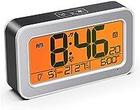 cocoda sveglia digitale da comodino con temperatura e led grande schermo, sensore notte, 2 modalità sveglia e 25 suoni di allarme, toccare la funzione snooze, per camera da letto, ufficio, cucina