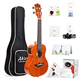 AKLOT Electric Acoustic Soprano Ukulele Solid Mahogany Ukelele 21 inch Beginners Starter Kit with Free Online Courses and Ukulele Accessories Electric 21