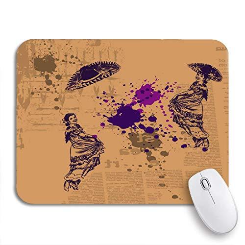 N\A Gaming Mouse Pad Brown Mexican Gypsy Dancers on Purple Mexico Sombrero Retro Antideslizante Respaldo de Goma Computer Mousepad para portátiles Alfombrillas de ratón