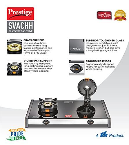 Prestige Svachh GTSV-02 Glass top LP Gas Table, 2 Burner, With Liftable Burner Set
