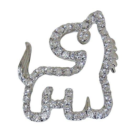 真珠の杜 ダイヤモンド ホワイトゴールド K18WG 馬 ブローチ レディース