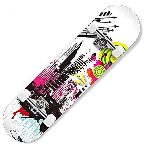 WYYUE Longboard, Monopatín Completo 80 X 20cm, Rodamientos De Bolas ABEC-7, Skateboard con Ruedas De PU 88A, Skate Board Cóncava De Dos Pisos para Principiantes, Niños, Adolescentes Y Adultos