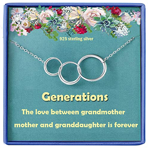 Grandmother Gifts for Grandma Nana Jewellery Necklace 925 Sterling Silver Circle Infinity Pendants Famliy Mother's day Granddaughter Birthday gift for Grandma Women