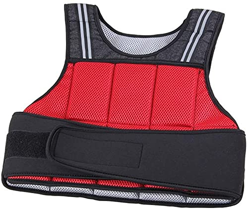 BAIRU Chalecos de Peso Chaleco ponderado de 8kg | Chaleco de Funcionamiento Ajustable con Tiras Reflectantes | Chaleco de Soporte de Peso Ultrafino, Rojo (Color : Red, Size : 5kg)