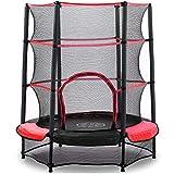 AOKCOS - Trampolino per bambini, 1,5 m, con rete di sicurezza e cuscinetto di sicurezza, piccolo tappeto elastico rotondo per bambini, per interni ed esterni, colore rosso RT137001PR