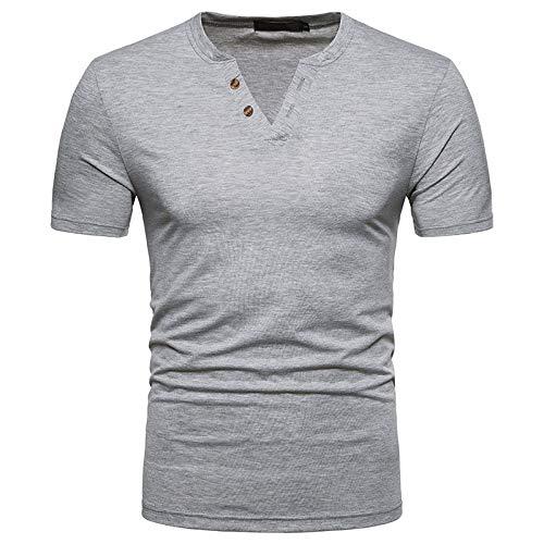 U/A Herren V-Ausschnitt Kurzarm T-Shirt Solid Color Simple Gr. XXL, Grau 1