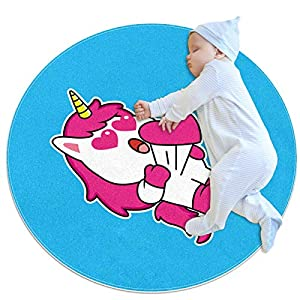 Round Rug Horse Soft Children Play Mat Baby Safe Carpets Baby Crawling Rug Nursery Rug for Living Room Baby's Bedroom 27.6×27.6 inches