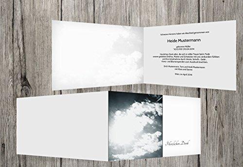 trauerkarten-druck   Danksagung Trauerfall   Danksagung Trauer Wolkenhimmel   30 Karten   mit Individualisierung & Umschlägen   in Weiß