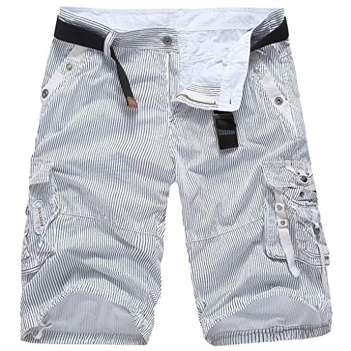 Men's Classic-Fit Cargo Short Men's Belted Messenger Pocket Men's Canvas Utility Hiker Short White