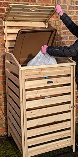 BinGarden Single Wooden Slatted Wheelie Bin Store with Bi-Fold Roof. Garbage Cover Trash Storage Shed Tidy Outdoor Hideaway for up to 240L Bins / 65G Cans. Hide Dustbin Bin Garden, Natural Colour