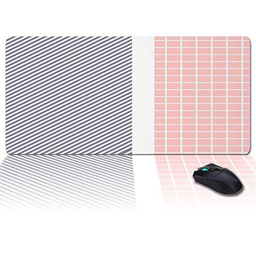 Große Gaming-Mauspad Full Desk Pad-Pink Plaid, Hellpurpurne Diagonalstreifen, rutschfeste Gummibasis Ergonomische XXL-Tastaturmatte für Laptop- / Computer- / Schreibtischzubehör