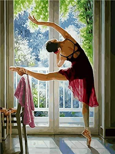 Bailarina de prensa de piernas DIY pintura digital para adultos sin marco 40x50cm niños digital pintura al óleo pared del hogar sala decoración Pintar por Numeros con Pinceles y Pinturas