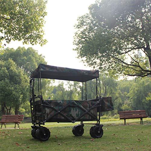 ZDAMN Carro con Carro Plegable Vagón al Aire Libre Wagon Playing Garden Beach Compras Cart Car Carrito de jardín Carros Carros Carro al Aire Libre para Acampar (Color : Camouflage, Size : One Szie)