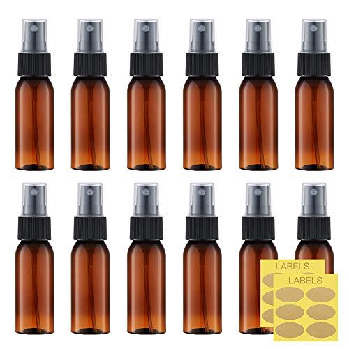 Toureal 30ml Ámbar Botellas Spray Pulverizador Plastico (12 Piezas) Botes Spray Vacios, Envase Atomizador Perfume