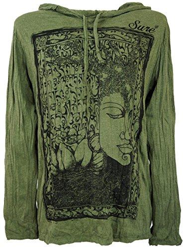 Guru-Shop Sure Langarmshirt, Kapuzenshirt Mantra Buddha, Herren, Olive, Baumwolle, Size:XL, Bedrucktes Shirt Alternative Bekleidung