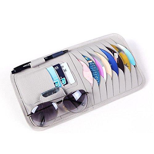 Auto Sonnenblende CD DVD Disc Media Aufbewahrungstasche Sonnenbrille Organizer PU Leder Sonnenschutzhülle Brieftasche Allbum Halter Clips (graue Farbe) von HitCar