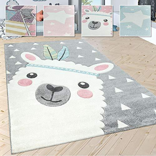 Paco Home Kinderteppich Kinderzimmer Moderne Pastell Farben, Niedliche Motive, 3D Effekt, Grösse:140x200 cm, Farbe:Grau