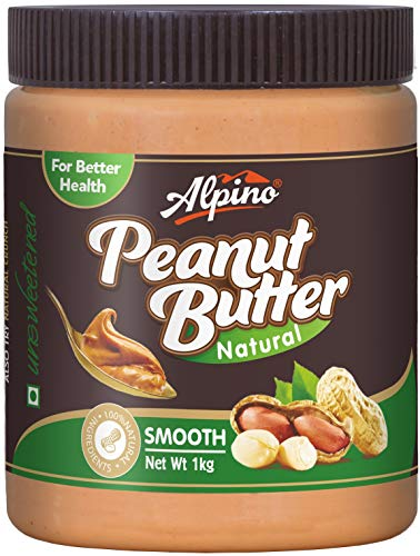 Alpino Natural Peanut Butter Smooth 1 KG (Unsweetened / Gluten Free /...