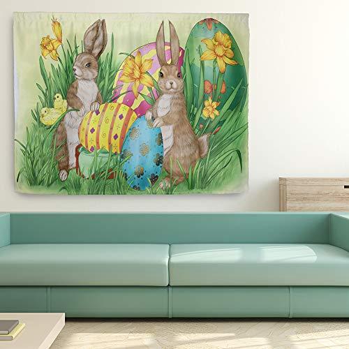 Le yi Wang You Frohe Ostertag Duschvorhang Sets Bunte Kaninchen Eier Duschvorhang Langlebiger Wasserdichter Stoff Badvorhang