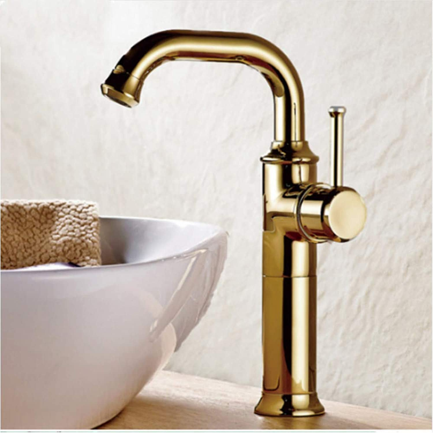 LLLYZZ Europe Style gold color Bathroom Basin Faucet Copper Material redatable Single Handle Mixer for Cold and hot Water