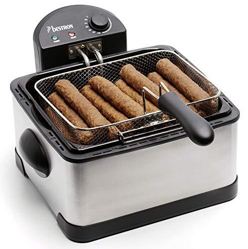 Bestron Friteuse familiale avec zone froide, 3 paniers, 4 litres, Capacité de 1,5 kg/2x750 g de friture, Fenêtre de visualisation, 2000 W, Acier inoxydable