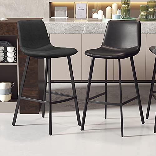 ZRN Taburetes de Bar Cuadrados Modernos de Cuero de PU con Respaldo, Juego de 2 sillas de Bar de Pub Industrial para mostrador de Cocina Sillas Altas de Barra Alta Taburetes Altos de Cuero sintético