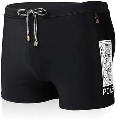 HIAO Maillot De Bain Hommes Serré Polyester Impression Plusieurs Tailles Source Chaude Piscine Plage Noir Couleur Unie Couture Modèle (Taille   4XL)