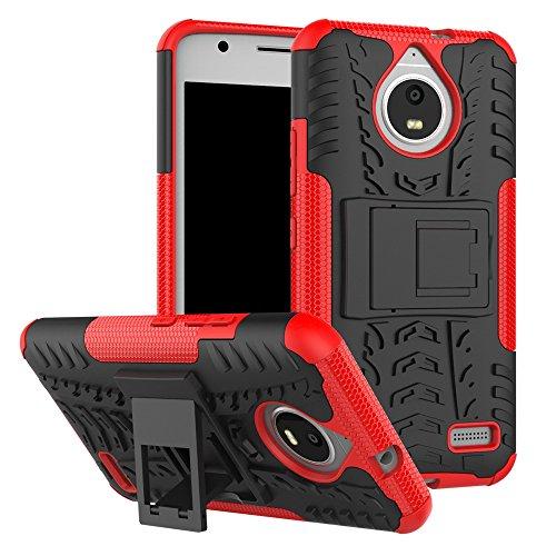 pinlu® Etui Schutzhülle Für Motorola Moto E4 (5 Zoll) Handyhülle Hybrid Dual Layer Case TPU + PC Kombination Fall Stoßfest mit Stand-Funktion Reifen Muster Rot