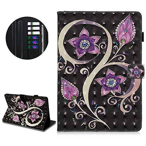 Klappbar Leder Brieftasche Hülle für Samsung Galaxy Tab S4 10,5 T830/T835,DasKAn 3D Buntes Muster Folio Flip Case Magnetisch Tablet Tasche mit Kartenfach Standfunktion Schutzhülle,Lila Mandala Blumen