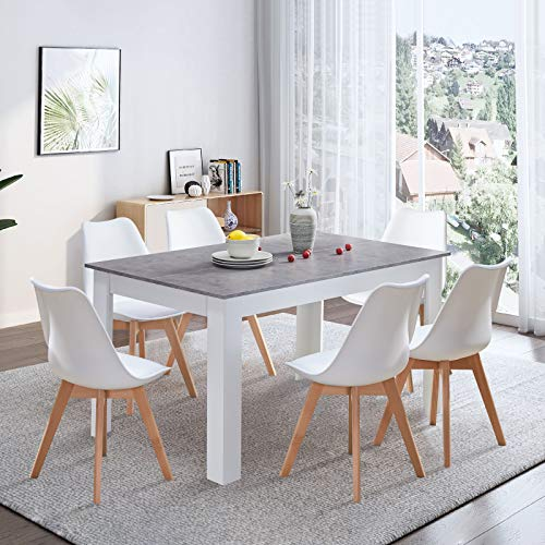 TUKAILAI Dining Table and 6 Chairs Set Retro and Modern Dining Set White PP Chairs with Wooden Dining Table 140cm