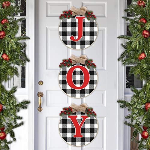 Huray Rayho Buffalo Plaid Joy Wooden Door Wreath Hanger Round Front Wall Sign Winter Farmhouse Holiday Fireplace Festive Display Ideas Stairway Decorating Supplies Indoor/Outdoor Set of 3