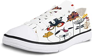 K0k2t0 Canvas Sneaker Low Top Shoes,Dragonfly Floral Design Hibiscus Ornaments Moth and Dragonfly Symbolic Transformation Creature