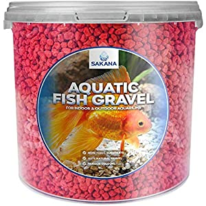Sakana Red Aquatic Fish Gravel – Decorative Tank Substrate Coloured Pond Stones (1 Litre Tub)