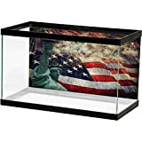 American Flag Aquarium Fish Tank Composite Photo of States Idols with Fireworks on Background 4th of July PVC Sticker Pictures Poster Background Decoration Multicolor L36 X H16 Inch