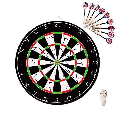 HWHSZ Dartbrett-Set, 18-Zoll-Ziel-Dart-Sicherheits-Dart-Set Mit 9 Pfeilen, Doppelseitiges Dart-Ziel FüR Indoor-SchießSport FüR Kinder