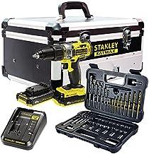 STANLEY FATMAX FMCK625D2F-QW - Taladro percutor 18V, 27.200 ipm, con 2 baterías de litio 2Ah, set de 50 acc y maletín de aluminio