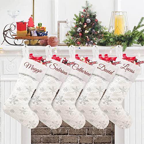 Duosheng & Elegant Bianca Calza di Natale da Appendere con Nome 5Pcs Grande Finta Pelliccia Calze Befana Personalizzate Natalizie Christmas Stockings per Decorazione per Feste Familiari